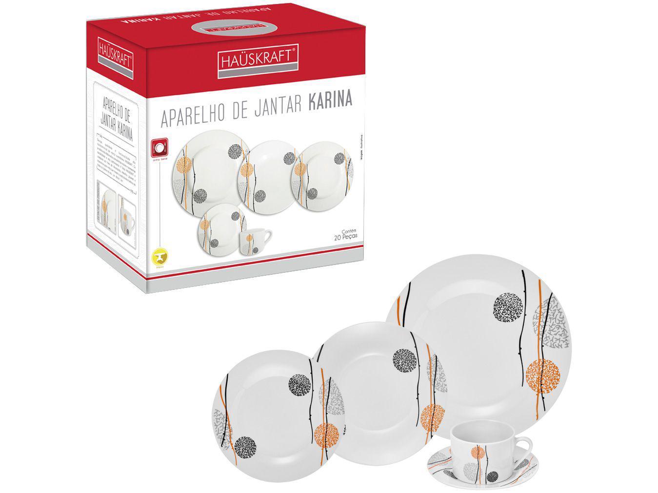 Aparelho de Jantar Chá 20 Peças Hauskraft - Porcelana Karina