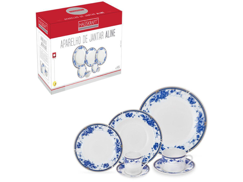 Aparelho de Jantar Chá e Café 42 Peças Hauskraft - Porcelana Branco e Azul Redondo Aline