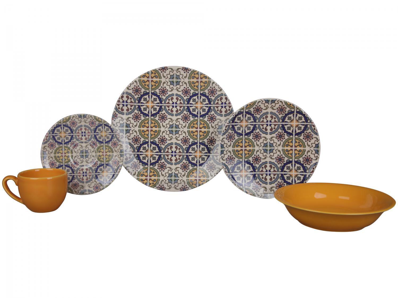 Aparelho de Jantar Chá 20 Peças Haus Cerâmica - Redondo Soho Mandala