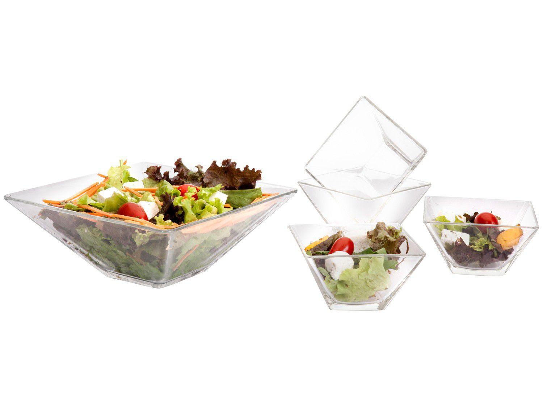 Saladeira de Vidro Quadrada Ruvolo Milão - Klassikglass 5 Peças