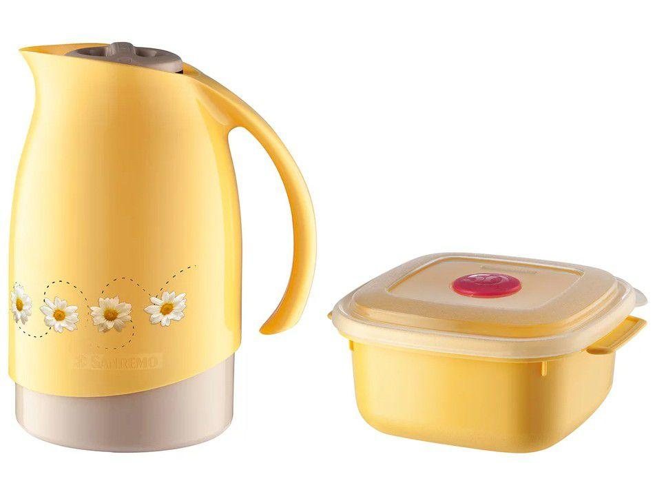 Bule de Chá e Café Térmico Amarelo com Pote 480ml - Sanremo Cuidar