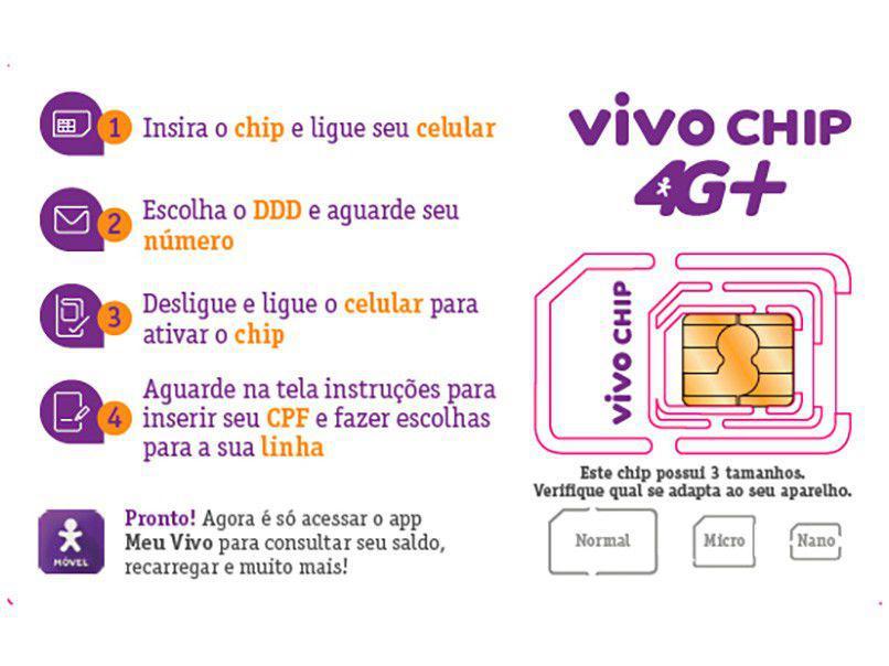 Chip Triplo Corte Vivo 4G - Cobertura Nacional