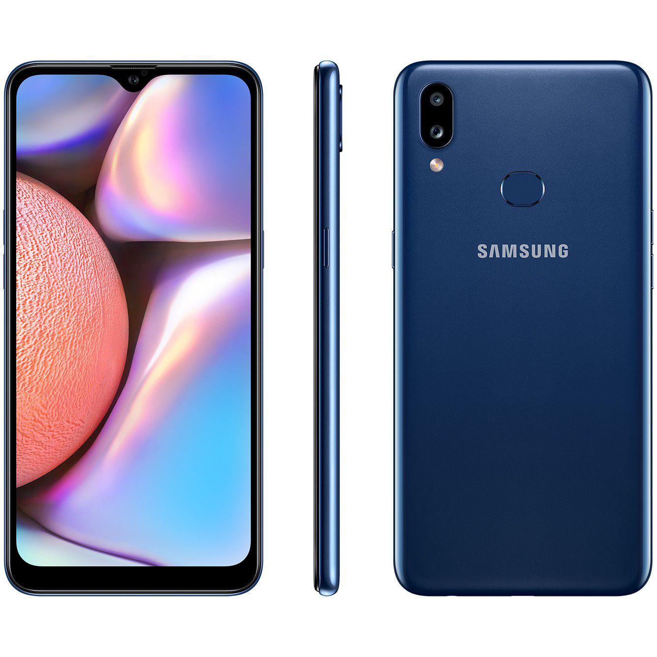 "Smartphone Samsung Galaxy A10s 32GB Azul 4G - 2GB RAM 6,2"" Câm. Dupla + Selfie 8MP"