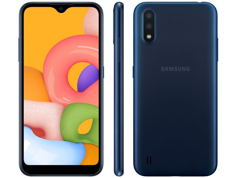Smartphone Samsung Galaxy A01 32GB Azul 4GB - Octa-Core 2GB RAM Tela 5,7 Câm. Dupla+Selfie 5MP