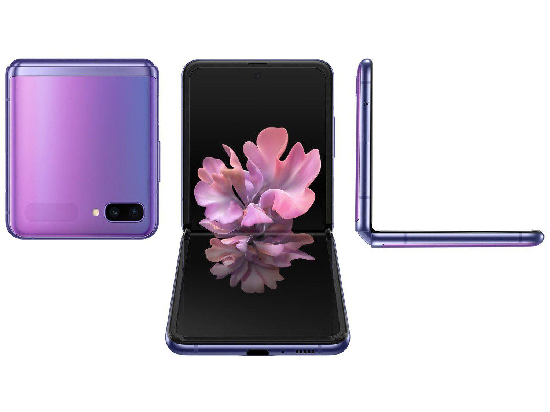 "Smartphone Samsung Galaxy Z Flip 256GB - Ultravioleta 8GB RAM 6,7"" Câm. Dupla + Selfie 10MP"