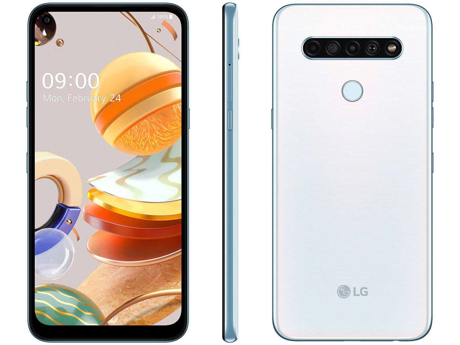 "Smartphone LG K61 128GB Branco 4G Octa-Core - 4GB RAM 6,53"" Câm. Quádrupla + Selfie 16MP"