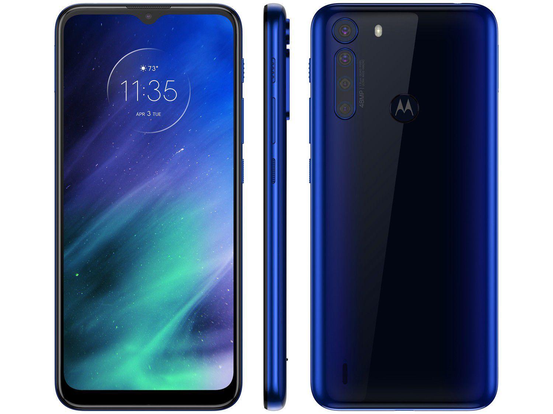 """Smartphone Motorola One Fusion 64GB Azul Safira - 4G 4GB RAM Tela 6,5"""" Câm. Quádrupla + Selfie"""