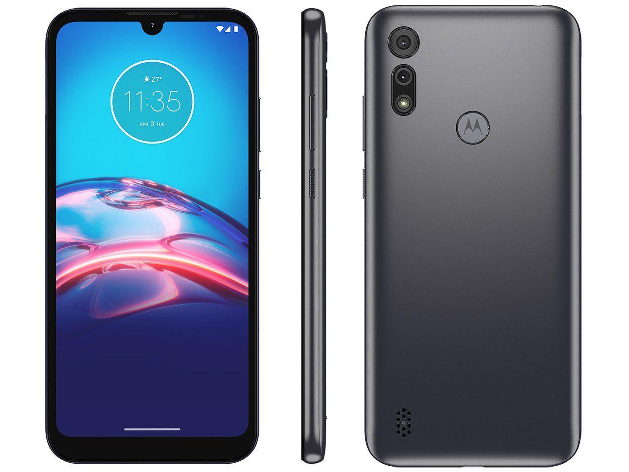 "Smartphone Motorola Moto E6S 32GB Cinza Titanium - 4G Octa-Core 2GB RAM 6,1"" Câm. Dupla + Selfie"