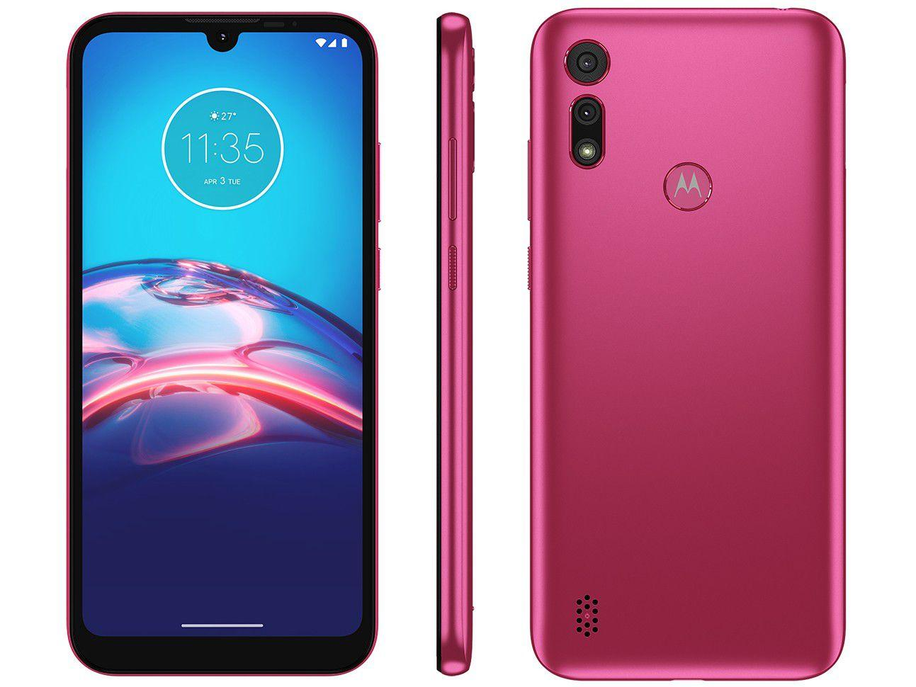"Smartphone Motorola Moto E6S 32GB Pink 4G - Octa-Core 2GB RAM 6,1"" Câm. Dupla + Selfie 5M"