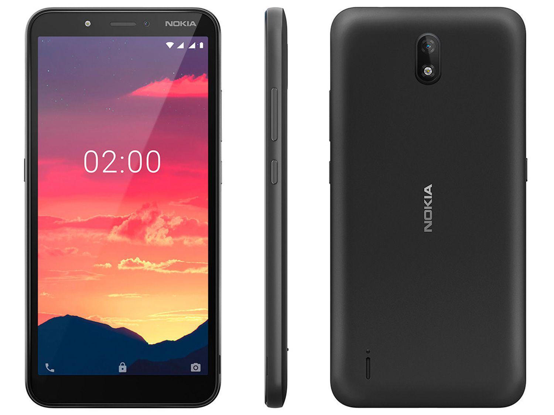 "Smartphone Nokia C2 16GB + 16GB Preto 4G 1GB RAM - 5,7"" Câm. 5MP + Selfie 5MP Dual Chip"