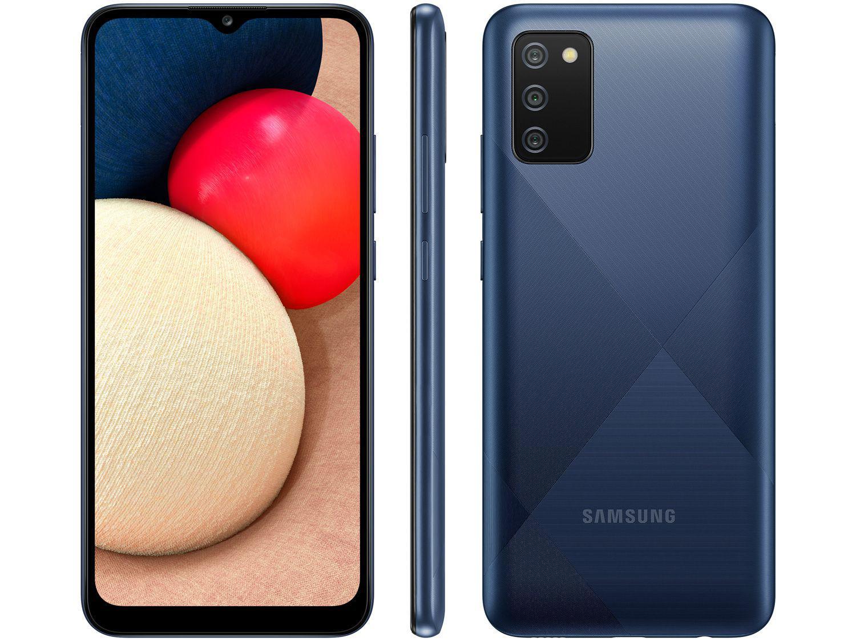 "Smartphone Samsung Galaxy A02s 32GB Azul 4G - Octa-Core 3GB RAM 6,5"" Câm. Tripla + Selfie 5MP"