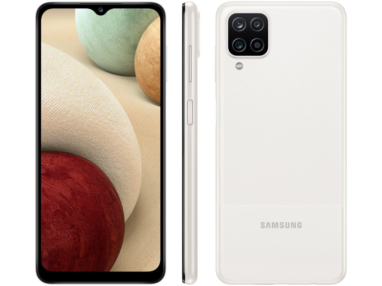 "Smartphone Samsung Galaxy A12 64GB Branco 4G - Octa-Core 4GB RAM 6,5"" Câm. Quádrupla + Selfi"