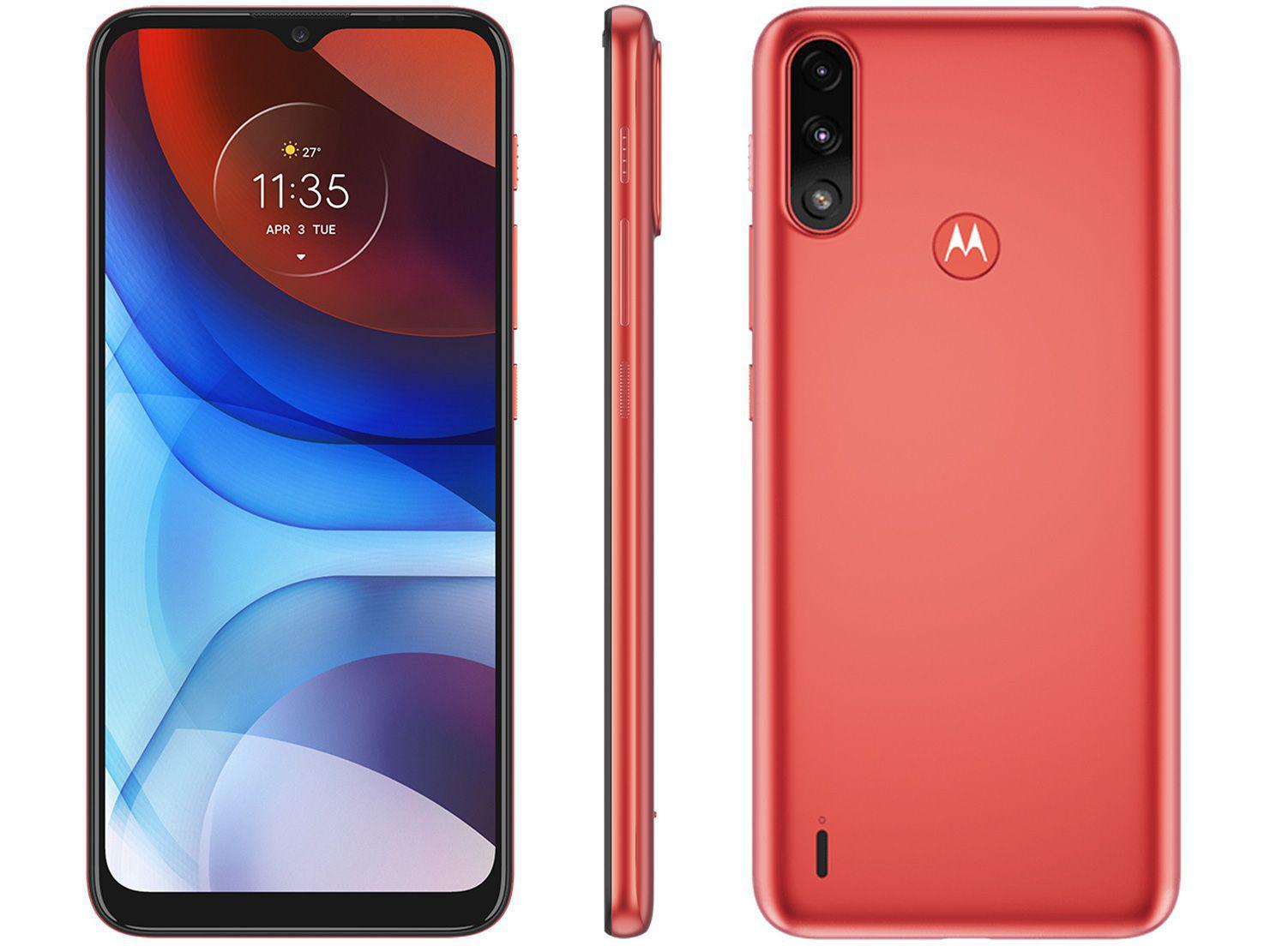 """Smartphone Motorola Moto E7 Power 32GB Vermelho - Coral 4G 2GB RAM Tela 6,5"""" Câm. Dupla + Selfie 5MP"""