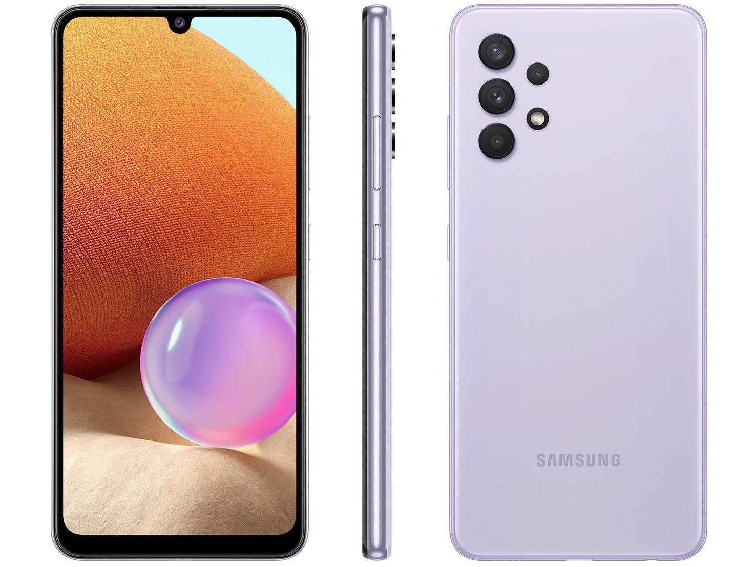 "Smartphone Samsung Galaxy A32 128GB Violeta 4G - 4GB RAM Tela 6,4"" Câm. Quádrupla + Selfie 20MP"