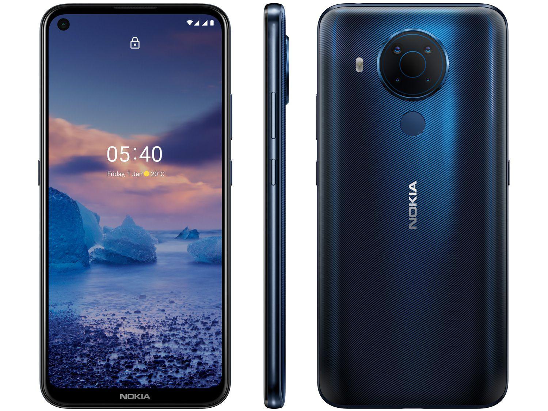 """Smartphone Nokia 5.4 128GB Azul 4G Octa-Core - 4GB RAM Tela 6,39"""" Câm. Quádrupla + Selfie 16"""