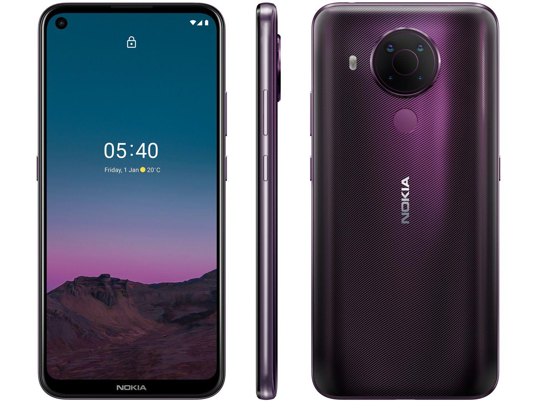 """Smartphone Nokia 5.4 128GB Roxo 4G Octa-Core - 4GB RAM Tela 6,39"""" Câm. Quádrupla + Selfie 16"""