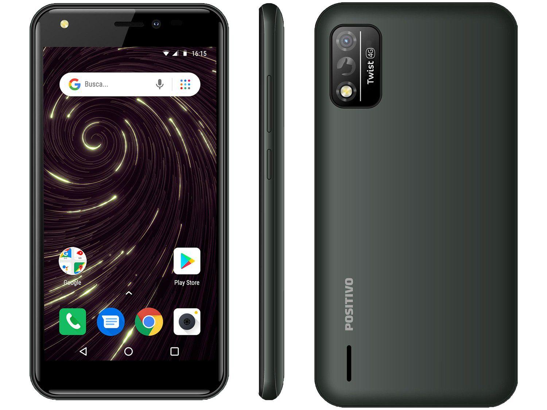"Smartphone Positivo Twist S509 32GB Cinza 4G - Octa-Core 1GB RAM Tela 5"" Câm. 8MP + Selfie 5"