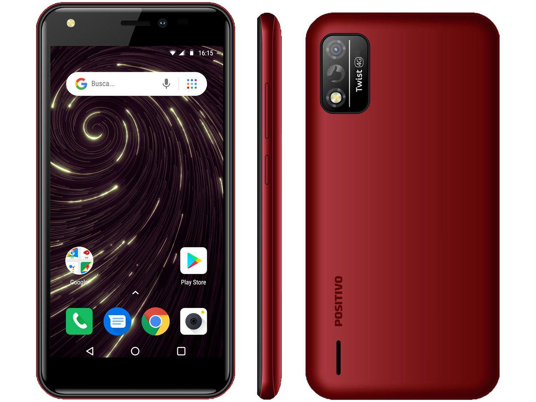 "Smartphone Positivo Twist S509 32GB Vermelho 4G - Octa-Core 1GB RAM Tela 5"" Câm. 8MP + Selfie 5"