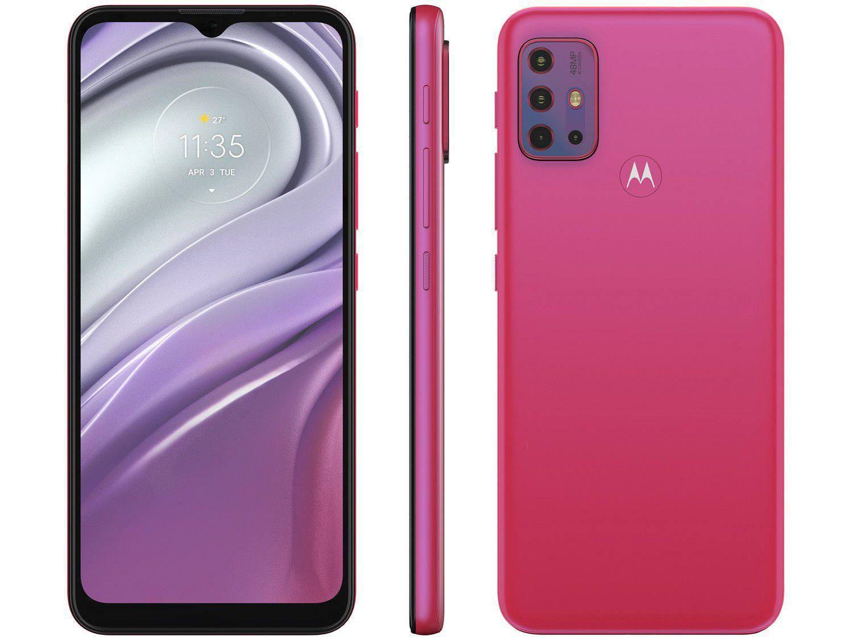 "Smartphone Motorola Moto G20 64GB Pink 4G - 4GB RAM Tela 6,5"" Câm. Quádrupla + Selfie 13MP"