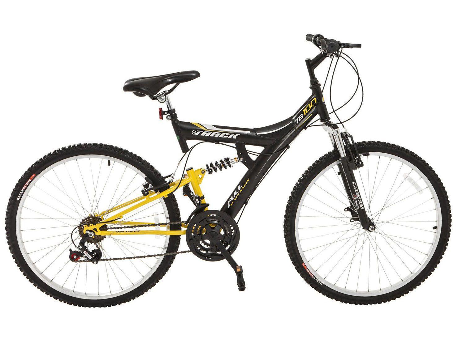Mountain Bike Aro 26 Track & Bikes Adulto - TB-100XS/PA Aço Carbono Freio V-Brake 18 Marchas