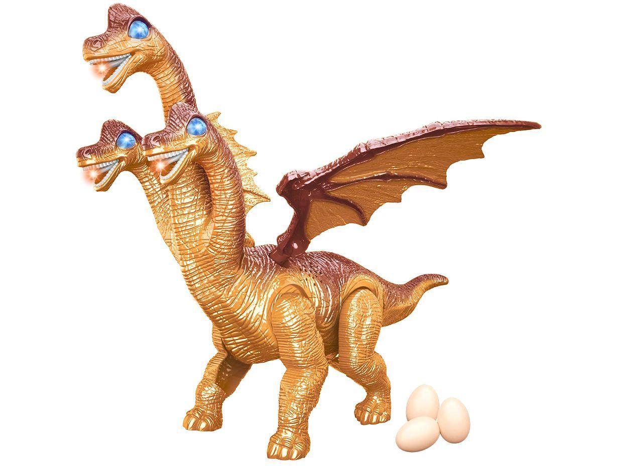 Dinossauro de Brinquedo 3 Cabeças Emite Som - e Luz com Acessórios DM Toys