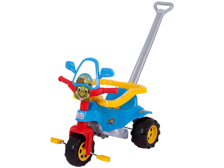 Triciclo Infantil Dino Azul com Empurrador - Cestinha Emite Sons Magic Toys