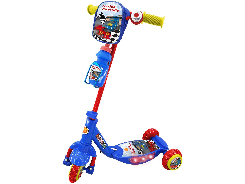 Patinete 3 Rodas Corrida Divertida com Mochila - Garrafinha Dm Toys