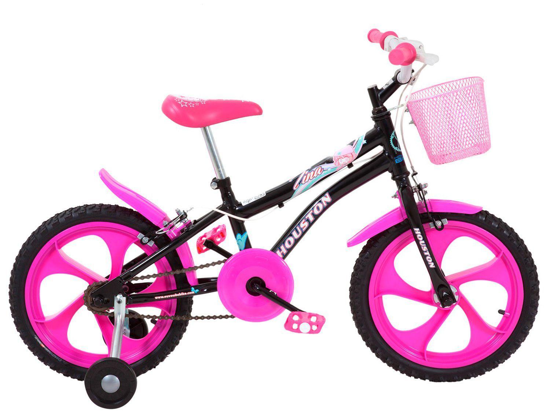 Bicicleta Infantil Aro 16 Houston Tina Rosa - com Rodinhas