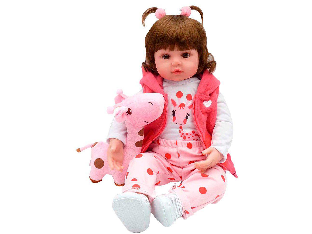 Bebê Reborn Mini Valentina Girafinha Laura Baby - 45cm com Acessórios