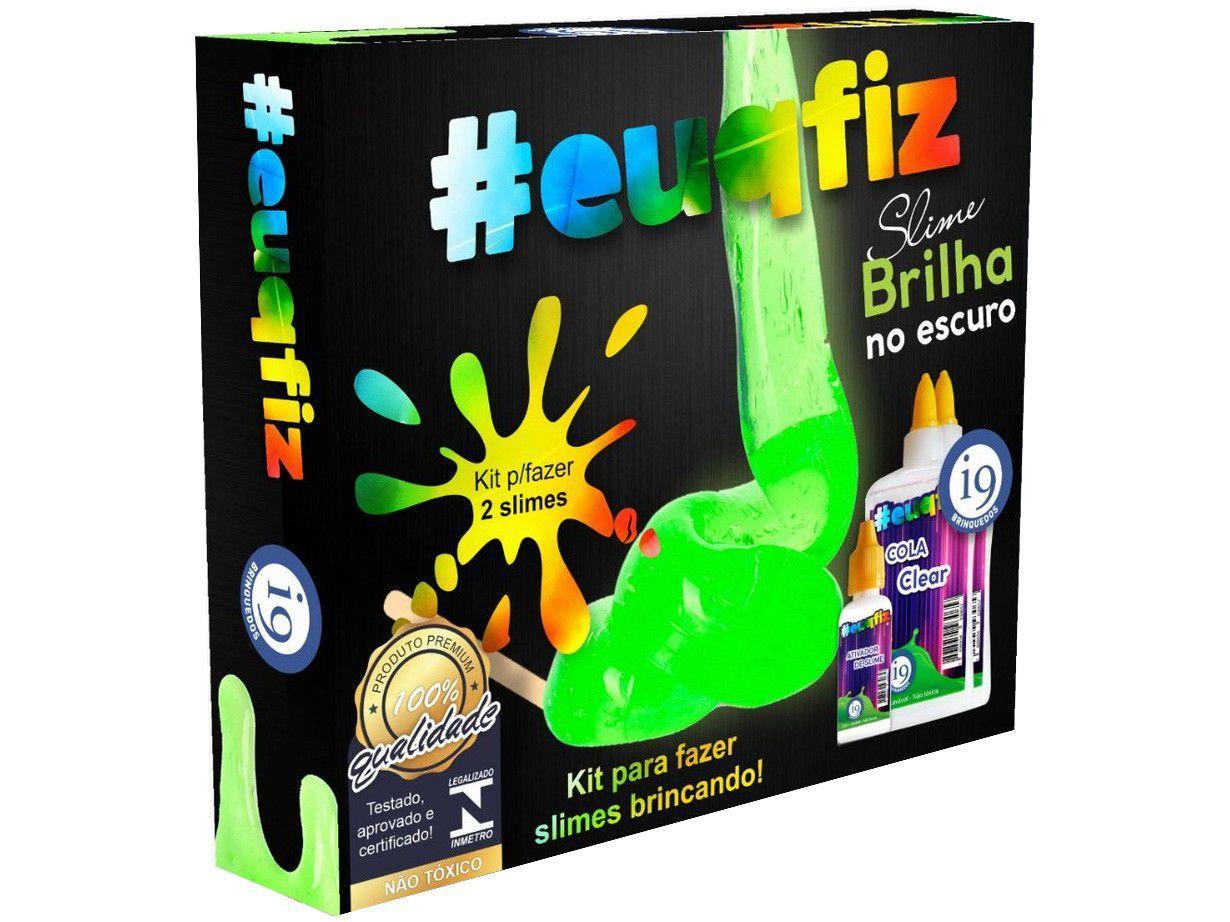 Slime #euquefiz Slime Brilha no Escuro - Colorida com Acessórios i9 Brinquedos