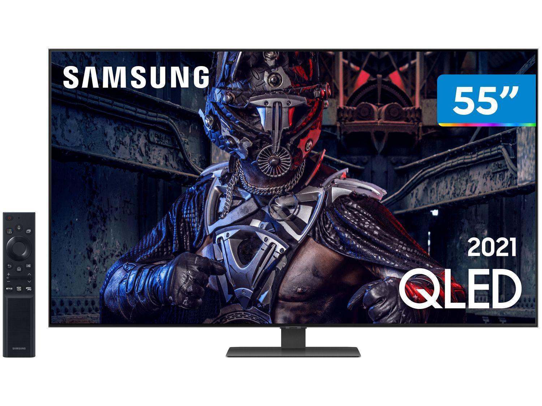 """Smart TV 55"""" 4K QLED Samsung 55Q80A Wi-Fi - Som em Movimento Processador IA HDR"""