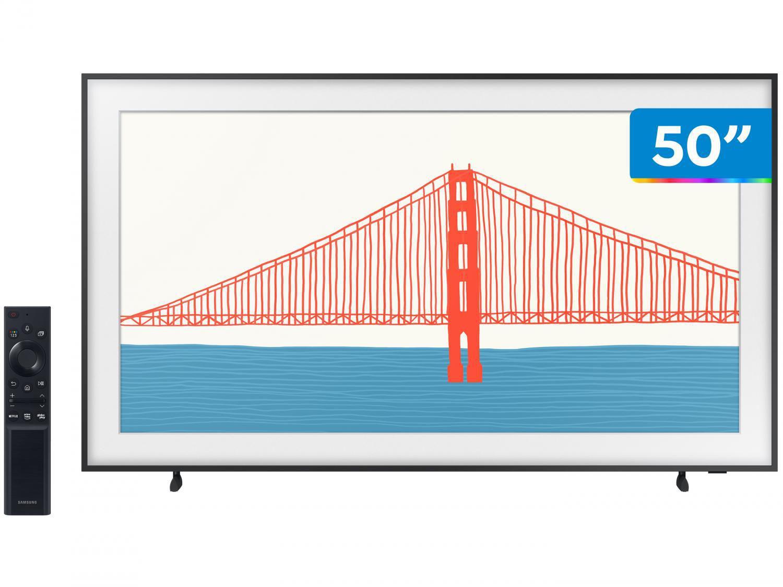 """Smart TV 50"""" 4K QLED Samsung The Frame 50LS03A - Wi-Fi Bluetooth HDR 4 HDMI 2 USB Única Conexão"""