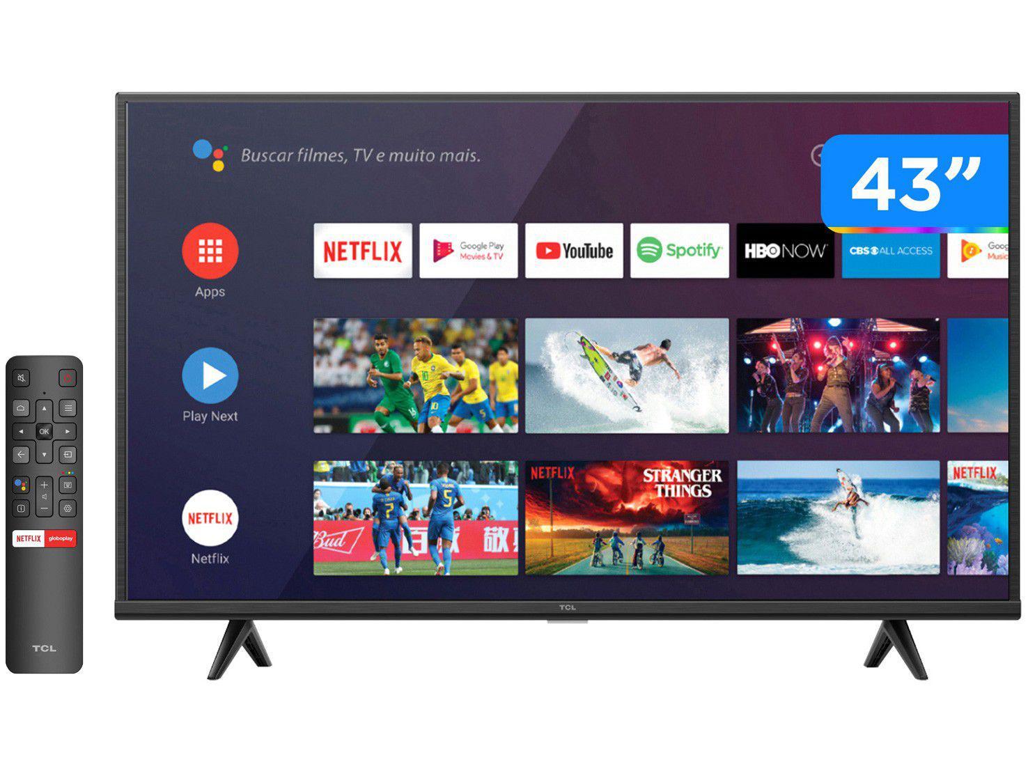 "Smart TV 43"" UHD 4K LED TCL 43P615 VA 60Hz - Android Wi-Fi Bluetooth HDR 3 HDMI 1 USB"