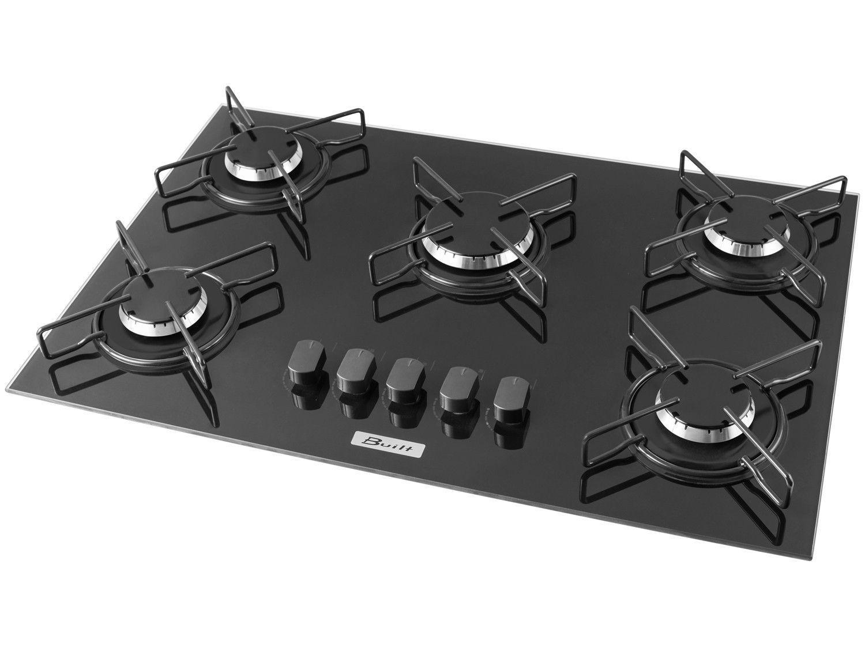 Cooktop 5 Bocas Built Soft à Gás Natural e GLP - Acendimento Superautomático