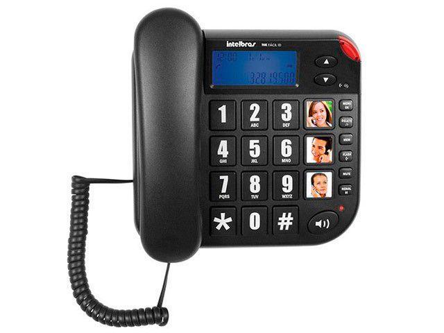 Telefone Com Fio Intelbras Tok Fácil ID - Identificador de Chamada Viva Voz Preto