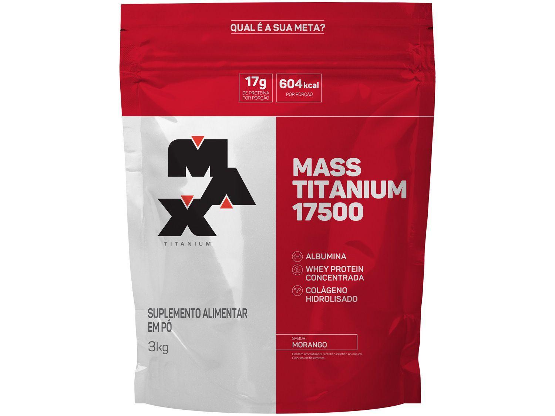 Albumina Max Titanium Mass Titanium 17500 - em Pó 3kg Morango