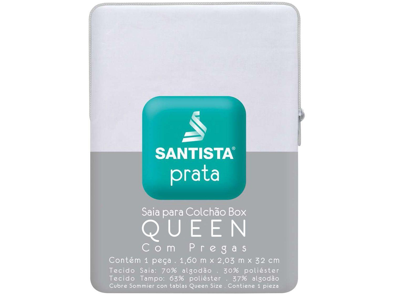 Saia para Cama Queen Size Prata - 160x203cm - Santista