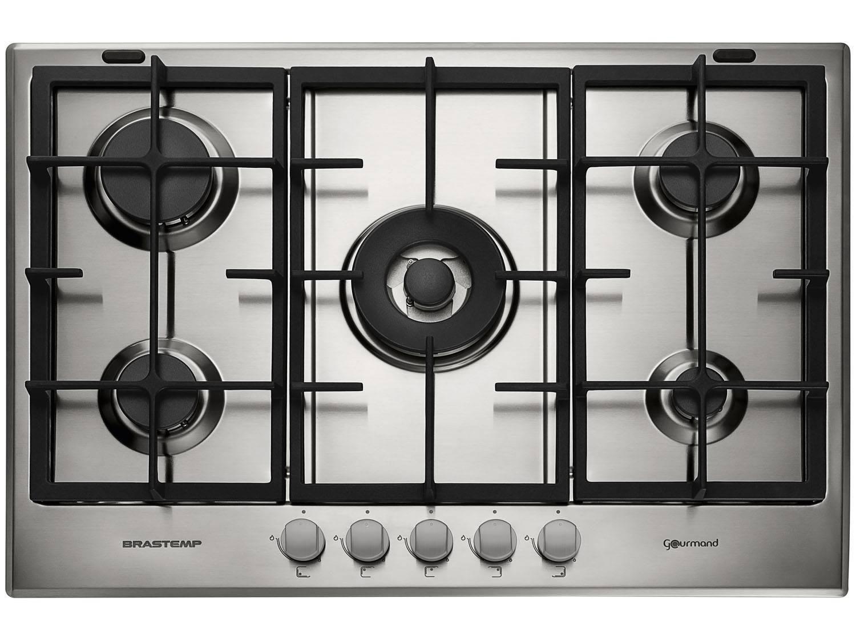Cooktop 5 Bocas a Gás Natural e GLP Brastemp Inox - Acendimento Automático Gourmand BDK75