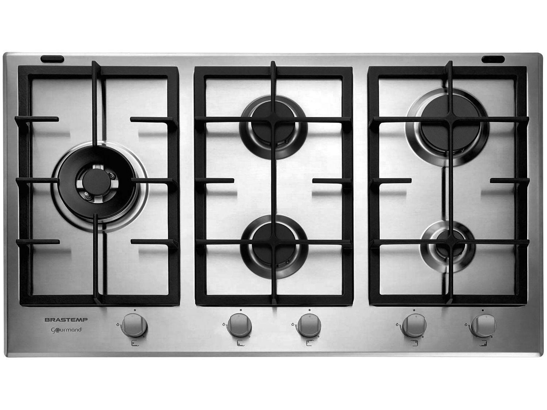 Cooktop 5 Bocas a Gás Natural e GLP Brastemp Inox - Dupla Chama Acendimento Automático Gourmand BDK75