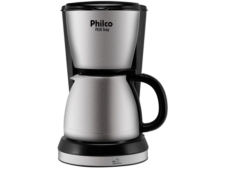 Cafeteira Elétrica Philco PH30 Temp 30 Xícaras - Preto e Aço escovado