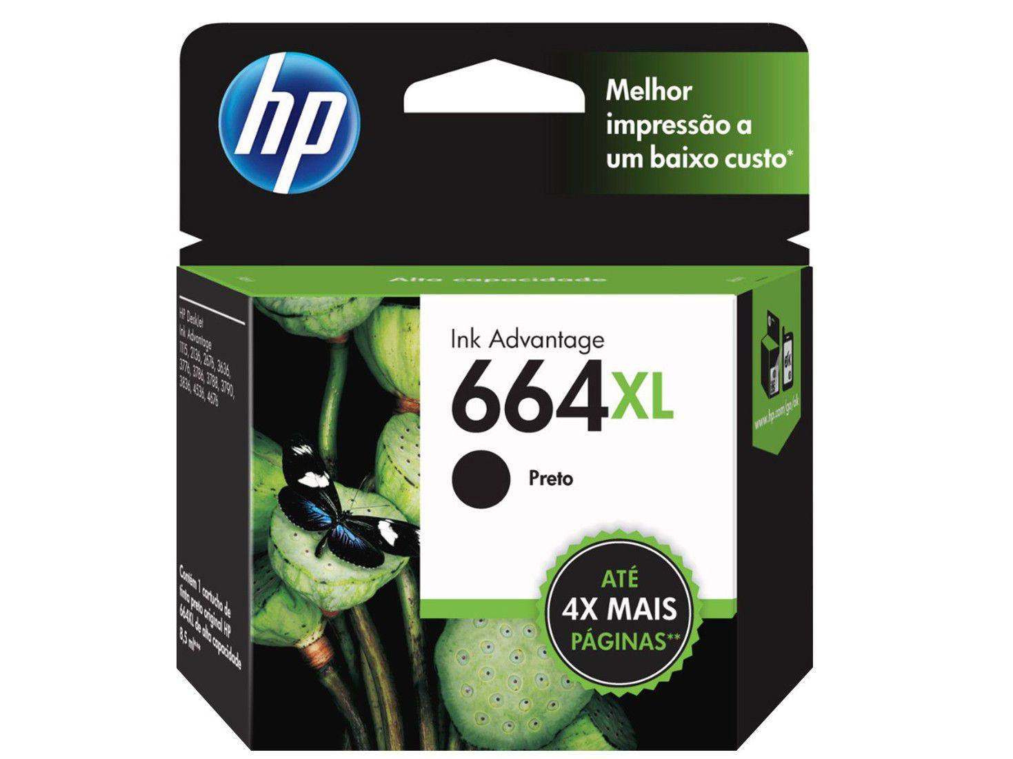 Cartucho de Tinta HP Preto 664 XL