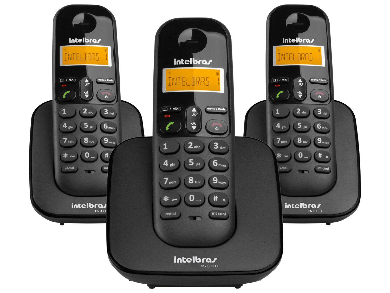 Telefone Sem Fio Intelbras TS 3113 + 2 Ramais - Identificador de Chamada Conferência Preto