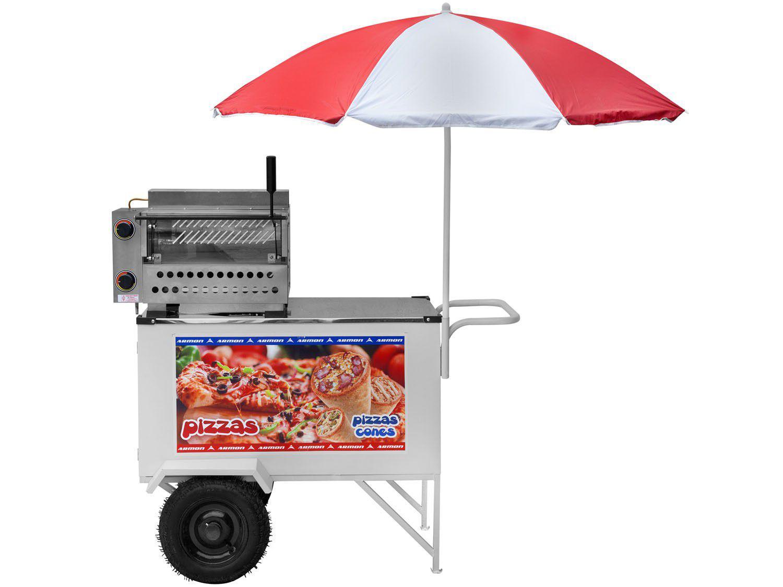 Carrinho de Pizza Armon - Street Food com Guarda-sol