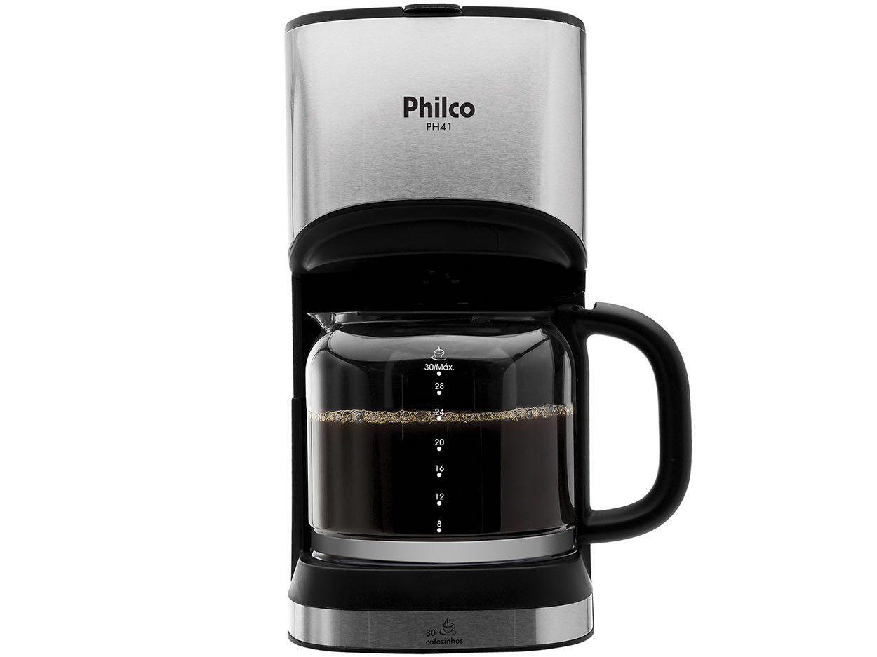 Cafeteira Elétrica Philco PH41 30 Xícaras - Preto e Prata