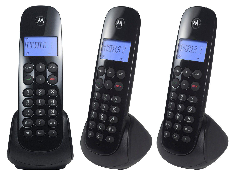 Telefone Sem Fio Motorola MOTO700-MRD3 + 2 Ramais - Identificador de Chamada Preto