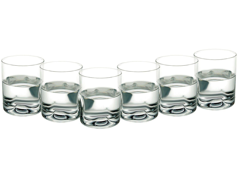 Jogo de Copos de Vidro para Whisky 6 Peças - 355ml Crisa Pedrada