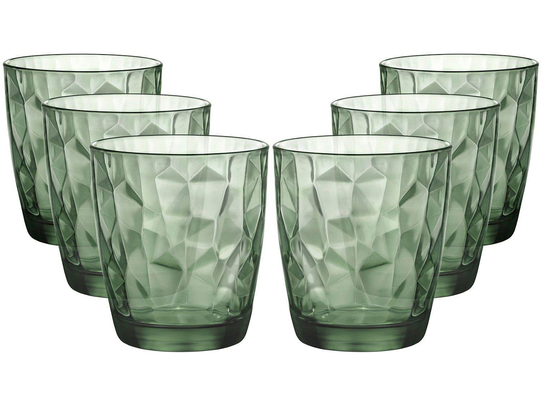 Jogo de Copos de Vidro para Whisky 6 Peças - Verde 390ml Bormioli Rocco Diamond