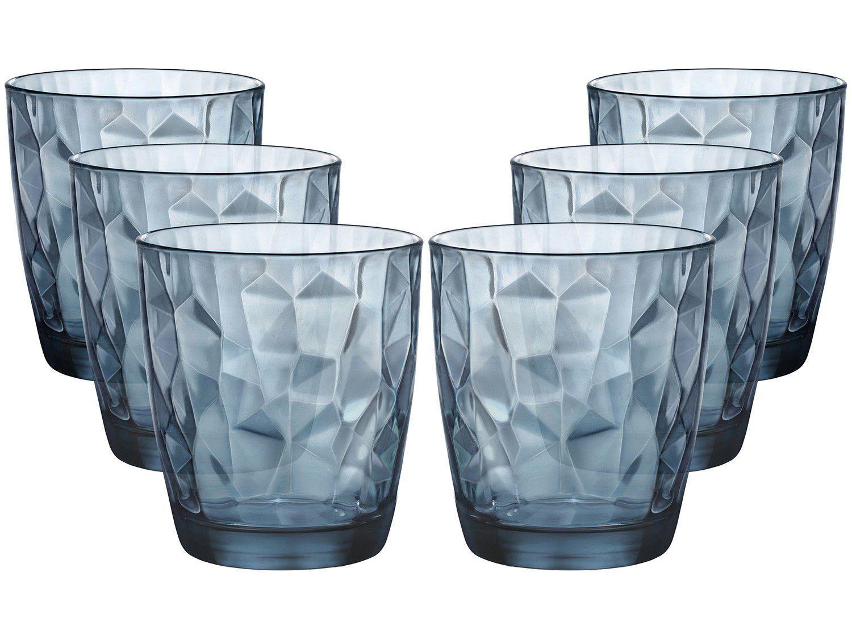 Jogo de Copos de Vidro para Whisky 6 Peças - Azul 390ml Bormioli Rocco Diamond