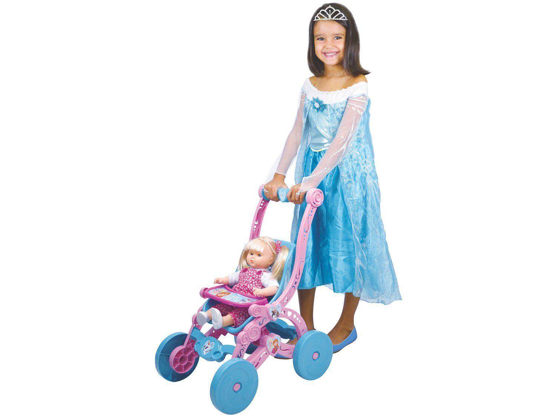 Carrinho de Boneca Frozen Rosa e Azul - Líder Brinquedos