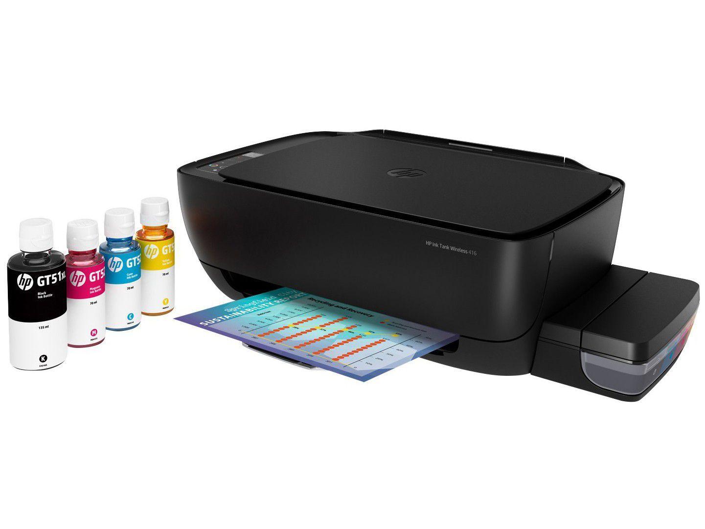 Impressora Multifuncional HP Ink Tank Wi-Fi 416 - Tanque de Tinta Wireless Colorida USB